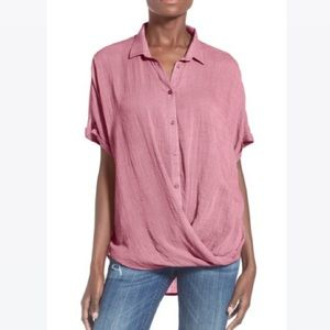 Lush red short sleeve twist front button down
